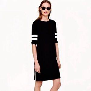 J.Crew Black Varsity Jersey Stripe Zipper Dress